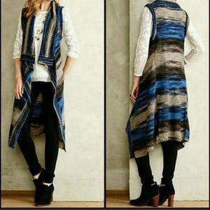 Anthropologie MOTH Blue Stripes Open Knit Cardigan